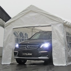 Gazebo, Tent, Garden pavilion 3 x 6 m, Ø 32x0.8mm, white, 4 side walls/ 2 x window/ 1 x door/ 1 x completely closed, material PE 140G, coated metal bars, metal connections, tent pegs and ropes inclusive