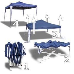 Gartenpavillon Nordsee I, Falt-Pavillon 3 x 3 m, blau, Material Oxford 200D, inkl. Tasche