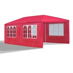 Gartenpavillon 3 x 6 m, rot, Pavillon, Pavillion, Partyzelt, Festzelt, Gartenzelt, mit 6 Seitenwänden 110G PE