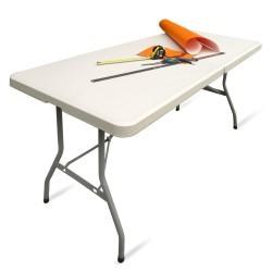 Klapptisch, Falttisch, Gartentisch, Tapeziertisch, Campingtisch, faltbarer Tisch, Markttisch, Flohmarkttisch, Koffertisch 183 x 75 x 74 cm,  Farbton Creme-hell mit Tragegriff