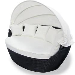 Sonneninsel, Polyrattan Garten Lounge, Chill-Out Sofa mit Baldachin (195x115x140 cm), schwarz, Aluminiumgestänge, mit Sitzpolster und 6 Kissen beige