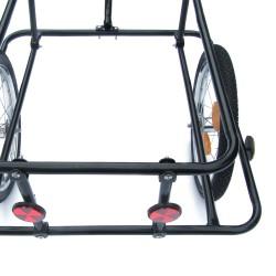 Fahrradanhänger, Transportanhänger 158 x 69 x 93 cm schwarz, mit Kunststoffwanne 90 liter, Handgriffe und Kupplung
