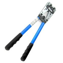 Crimpzange, Kabelschuhzange Kabelschuhe Presszange gross aus Stahl mit rutschfesten Griffen und drehbarem Revolver-Crimpeinsatz für 6 - 10 - 16 - 25 - 35 - 50  mm²