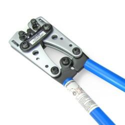 Pince à sertir et à dénuder grande, en acier, avec manches antidérapants et matrices de sertissage tournantes pour 6 - 10 - 16 - 25 - 35 - 50  mm²
