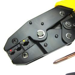 Crimpzange, Kabelschuhzange, Set mit 5 wechselbaren Einsätzen, inklusive Schraubenzieher und alles im praktischen Mäppchen mit Reißverschluß, Presszange für  Kabelschuhe