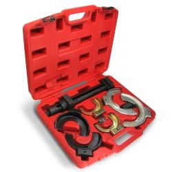 Set de compresseur de ressorts, à 8 pièces, avec coffret d'acier, pour ressorts 80-195 mm de diamètre, seulement pour jambes de suspension Mac Pherson