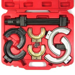 Coil spring compressors set, strut compressor set, 8- part steel case for nib sizes diameter of 80-195 mm, fits only for MacPherson spring compressors