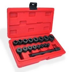 Clutch aligner set, 18-piece pressed steel in a case, 1 x punch, 8 x bushes for locating pins and 8 x end sockets