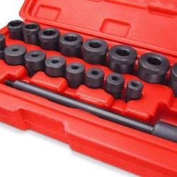 Centreur d'embrayage, set de 18 pièces, d'acier, avec coffret, 1x chasse-clou, 8x douilles de centrage et 8x douilles finales