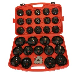 Oil filter wrench for cars, material: steel, 31 pieces, includes carrying case