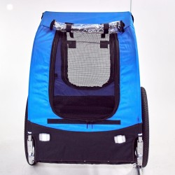 Pet Trailer Fold Bike Dog Bicycle Stroller Double Wheel  blue/black
