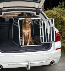 Dog box, Dog transport box, Pet carrier box Alloy Travel box Grid box Car, size 55 x 62 x 78 cm, floor slab 55 x 78 cm / top panel: 55 x 48 cm, material: Alloy/ MDF, color: black/silver, 1 door, type round struts, self-assembly kit