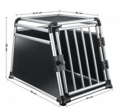 Dog box, DDog transport box, Pet carrier box Alloy Travel box Grid box Car, size 63 x 65 x 90 cm, floor slab 63 x 90 cm / top panel: 50 x 61,5 cm, material: Alloy/ MDF, color: black/silver, 1 door, type round struts, self-assembly kit