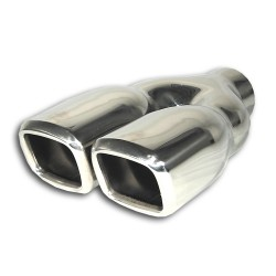 Tailpipe, twin square, Y adapter, 2 x 80x70mm, 230mm, with absorber, EC approved