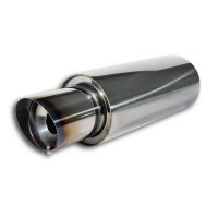 PowerFlow Edelstahl Schalldämpfer, runder Körper, Silencer wechselbar, 140 x 350, 529mm, Einlaß 61mm