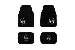 Fußmatten Auto Teppich hochwertig mit Skull Totenkopf Motiv, schwarzes Velour weiß bestickt, 4-teilig