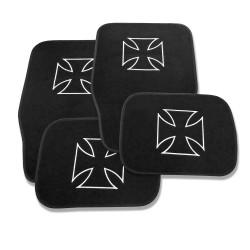 Fußmatten mit Iron Cross Motiv, schwarzes Velour bestickt, 4-teilig