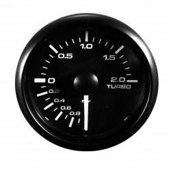 Jauge manomètre de pression de suralimentation Turbo Compteur avec sonde, Ø52mm LED réglable Blanche / Jaune vitre bombé - Qualité Allemande