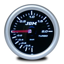Gauge, boost pressure, black reflecting cover glass