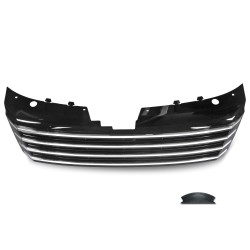 Front Grill badgeless, gloss black with chrome stripes suitable for VW Passat B7 (Typ 36) year 11/2010-