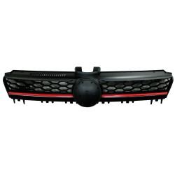 Kühlegrill Kühlergitter, schwarzes Wabengitter mit  Leiste Rot / Chrom für Golf 7 passend für VW Golf 7 ab Baujahr 08.2012-
