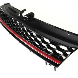 Kühlegrill ohne Emblem, schwarzes Wabengitter mit roter Leiste passend für VW Golf 7 ab Baujahr 08.2012-