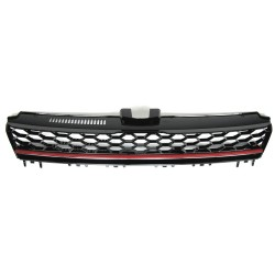 Front Grill badgeless, black honey-comb mesh with red stripe suitable for VW Golf 7 year 08.2012-