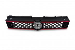 Kühlergrill, Sportgrill, - GTI - Look - , Wabendesign, mit Aussparung für das Emblem passend für VW Polo 5 (6R)