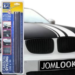 Carbonfolie,JOM Stylingfolie, selbstklebend, 30 x 150cm, 3D Struktur, geeignet für Innen u. Außen, Selbstklebend, PVC, mit Luftkanälen, trocken aufziehbar, wärmeformbar