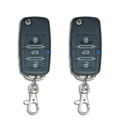 Central locking system, universal with 2 remote control in foldable key, 4 motors