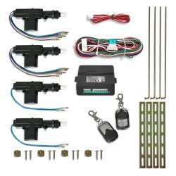 Central locking system, universal with 2 mini radio remote controls, 4 motors