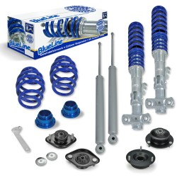 BlueLine Coilover Kit with Domcap Set suitable for BMW E36 4 and 6 cylinder all models except M3, year 06.1992-2000