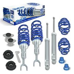 BlueLine Gewindefahrwerk Set mit Domlager, VA 30-65 / HA 35-60 mm, Gewinde/Feder, Keilform-Tieferlegung passend für VW Passat 3B/3BG (HA bis 1025kg) incl. Variant 3.97-05, ohne 4Motion, Gewinde/Fede
