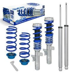 BlueLine Gewindefahrwerk, Keilform-Tieferlegung, VA 30-70 /  HA 30-60, Gewinde / Feder passend für Volvo S40 T5 2.5/ D5 2.4 nicht für AWD (4X4), 04-