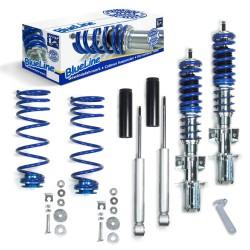 BlueLine Gewindefahrwerk ,Keilform-Tieferlegungen VA 30-60 / HA 20-45 mm, Gewinde/ Feder passend für Volvo 850 inkl. Kombi, 2.0i/ 2.5i/ 2.5i 20V/ 2.3i T 20V ohne AWD 91-96 (Typ LS, LW), S70/V70 2.0/ 2.4/ 2.4T/2.5/ 2.5 20V/ 2.5T/ 2.5TDi/ 2.5D ohne AWD 96-0