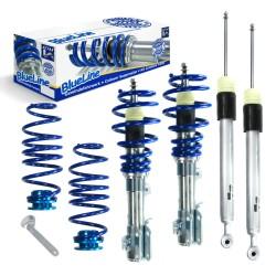 BlueLine Gewindefahrwerk, Keilform-Tieferlegung VA 30-50 / HA 10-35 mm., Gewinde/ Feder passend für Mazda 2 (DE/DE1) 1.3/ 1.5, 07-10