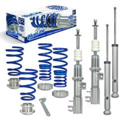 BlueLine Gewindefahrwerk, Keilform-Tieferlegung, VA 35-70 / HA 40-65 mm, Gewinde / Feder passend für Opel Adam 1.0/ 1.2/ 1.4, 2012-