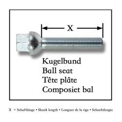 Kit de 10 Vis, Boulons, boulonnerie longue M 12 x 1,5 30 mm pour les cales d'élargissement de voie de roue, jante, boulonnerie Assise / collet sphérique - Qualité Allemande.