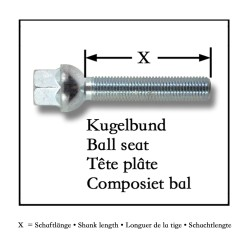 Wheel bolts, ball seat, M14x1,5 37mm (10 pieces)