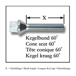 Radbolzen Kegelbund M14 x 1,25 / 43mm, 10 St., schwarz