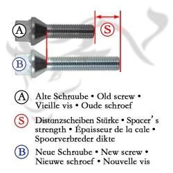 Spurverbreiterung Set 20mm inkl. Radschrauben passend für VW Caddy (2KN), Caddy Maxi (2K)