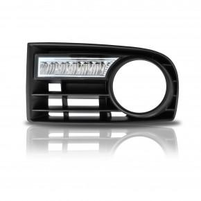 Tagfahrlicht, 6 LED mit Dimm-Funktion, Fahrzeugspezifischer Einbausatz , chrom (für Fahrzeuge mit Nebelscheinwerfer) passend für VW Golf 5