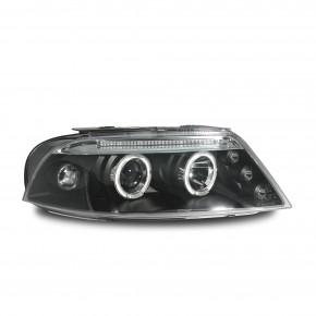 Scheinwerfer, AE-Design, Xenon-Optik-Linse, 2 Standlichtringe, Zusatzbeleuchtung: 3 LED, Standlichtleiste, inkl. Blinker, Vorbereitung für elek. LWR, Klarglas / schwarz passend für VW Passat Bj. 00-05