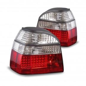 Rückleuchten, LED, chrom / rot passend für VW Golf 3 Bj.  91-97