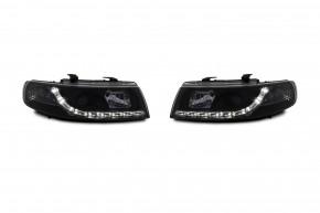 Scheinwerfer, Tagfahrlicht Design, Xenon-Optik-Linse, inkl. Blinker, Vorbereitung für elek. LWR, Klarglas / schwarz