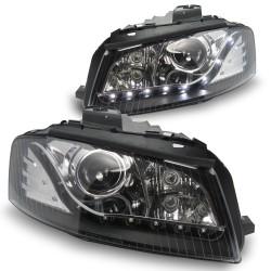Scheinwerfer, Tagfahrlicht Design, Xenon-Optik-Linse mit Doppelfunktion, integrierte Blinker, LWR inkl. Motor, Klarglas / schwarz