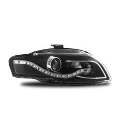 Scheinwerfer, Tagfahrlicht Design, Xenon-Optik-Linse, inkl. Blinker, mit LWR, Klarglas / schwarz