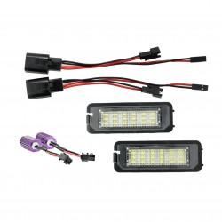 LED Kennzeichenbeleuchtung, 1 Set 2 Stück, mit E-Zeichen passend für Golf 4, Golf 5, Golf 6 Eos 06-, Lupo 99-03, Beetle 06-, Passat CC 09-, Polo 6N2 00-02, Polo 9N 02-05, Phaeton 02-, Scirocco 3, Amarok 2010-, Superb li 09-, Boxter 05-09