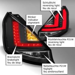 LED Lightbar Rückleuchten Klarglas schwarz passend für Ford Fiesta (Typ JA8) ab Bj. 2008 -2012