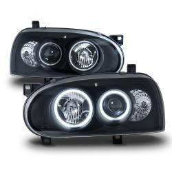 Scheinwerfer AE-Look , Klarglas/ Schwarz, Projektorlinse, 2 CCFL Ringe, Standlicht und Zusatzbeleuchtung, mit LWR passend für VW Golf 3, 92-97